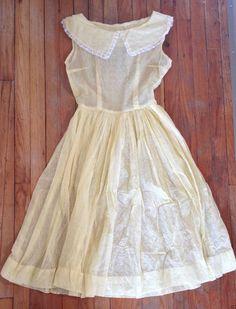 Vintage 50's Yellow Sheer White Lace Trim Tea Dress Rockabilly Size 4 6 | eBay #RecycledCouture #Fashion #eBay