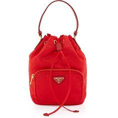 Prada Tessuto Mini Bucket Crossbody Bag (960 BAM) ❤ liked on Polyvore featuring bags, handbags, shoulder bags, red, mini crossbody purse, red handbags, crossbody handbag, drawstring bucket bag and red purse
