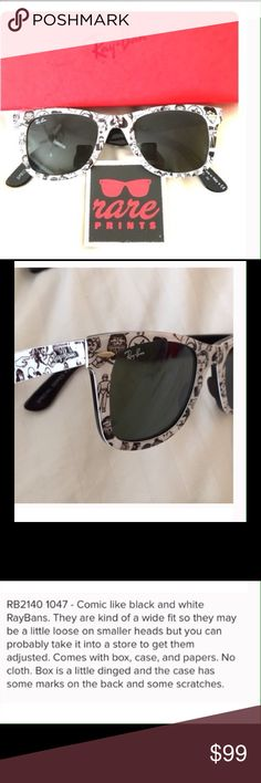 "Ray Ban RARE ""Comic Print"" Shades In excellent used condition Ray-Ban Accessories"