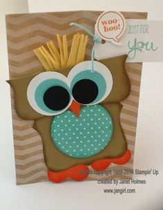 Jan Girl: Stampin' Up Top Note Owl Chevron Gift Bag
