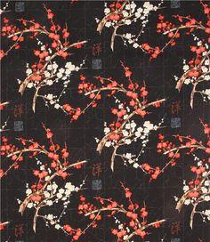 Asiastoff 'Golden Garden' mit japanischen Kirschblüten & Goldverzierungen