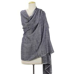 NOVICA Hand Spun and Woven Cashmere Shawl in Navy Blue ($310) ❤ liked on Polyvore featuring accessories, scarves, blue, clothing & accessories, shawls, cashmere scarves, shawl scarves, navy wrap shawl, navy shawl and cashmere shawl