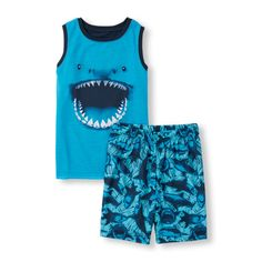 Baby Boys Boys Sleeveless Shark Mouth Graphic Tank Top And Sketchy Shark Print Shorts Pj Set - Blue - The Children's Place