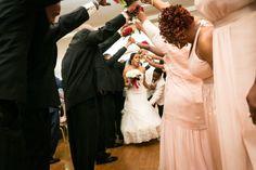 Bride and groom under the bridal party arch at a Glen Terrace wedding  #wedding #BrooklynWedding #weddingphotographer #weddingphotography #GlenTerrace