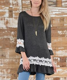 Another great find on #zulily! Charcoal Lace Ruffle Long-Sleeve Tunic #zulilyfinds
