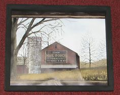 """PRIMITIVE COUNTRY OLD BARN MAIL POUCH TOBACCO FARM 9"""" X 11"""" WALL DECOR #HANDCRAFTED"""