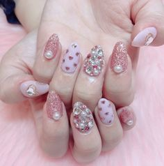 ♥ The Cutest Monthly Kawaii Subscription Box ♥ Receive cute items from Japan & Korea every month ♥ Nail Art Designs, Cute Acrylic Nail Designs, Cute Acrylic Nails, Gem Nails, Pink Nails, Hair And Nails, Korean Nail Art, Korean Nails, Simple Gel Nails