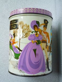 Vintage 1960s Mackintosh's Quality Street Selection Tall 1lb Tin Chocolates Toffees. (My lovely Nan had a tin like this in her kitchen cupboard.)