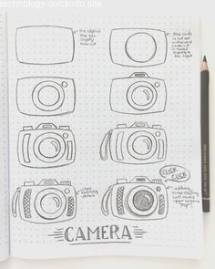 Drawing tutorial how to draw a camera - Fischtales Bullet Journal Writing, Bullet Journal Banner, Bullet Journal Aesthetic, Bullet Journal Ideas Pages, Bullet Journal Inspiration, Doodle Art For Beginners, Easy Doodle Art, Doodle Art Drawing, Pencil Art Drawings