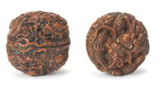 Two netsuke of wood and walnut The first by Hokuzan and the second after Kagetoshi, late 19th century (2)