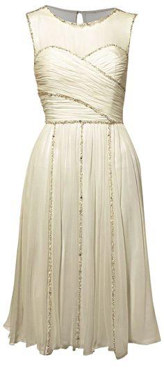 Biba Lily sheer and beaded knee length wedding dress