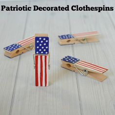 DIY Patriotic Decorated Clothespins - an easy craft to make with kids and give as giffts