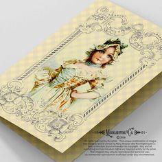 CARD VICTORIAN GIRL  Vintage Printable by MoonlightingandCo