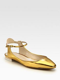 Chloé Metallic Leather Ankle Strap Ballet Flats