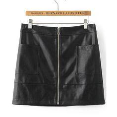 Black Zipper Up PU Mini Skirt (80 ILS) ❤ liked on Polyvore featuring skirts, mini skirts, short skirts, zipper skirt, zip skirt, mini skirt and pu skirt