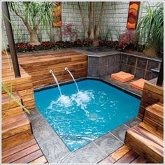 Build your hot tub, spa or exercise pool. Get instant access to detailed information on how to build your own hot tub, spa or exercise pool today! Small Backyard Design, Small Backyard Pools, Backyard Patio, Backyard Landscaping, Backyard Designs, Hot Tub Backyard, Backyard Seating, Small Swimming Pools, Small Pools