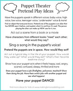 Free Printable Puppet & Pretend Play Activities for Kids #kids #play via www.makinglemonadeblog.com