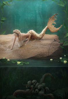 A mermaid's mournful serenade by LuneBleu.deviantart.com on @DeviantArt