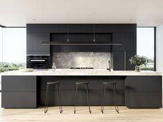 These were the biggest interior design trends of 2017 Black Kitchen Cabinets biggest Design Interior Trends Country Kitchen Designs, Farmhouse Style Kitchen, Modern Farmhouse Kitchens, Black Kitchens, Home Decor Kitchen, Kitchen Living, New Kitchen, Home Kitchens, Kitchen Ideas