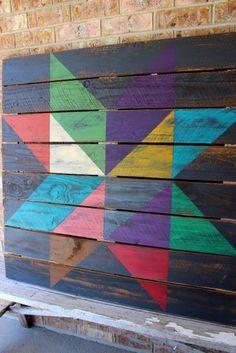 Image of Black and Bright Star Barn Quilt @TweetleDeeDesignCo