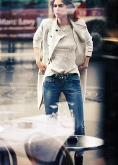 classic trench and jeans and cosy cable sweaters for fall: BFF (mango 2012)