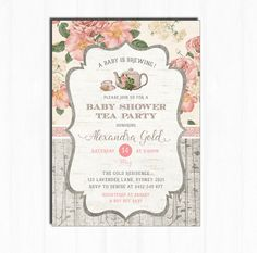 Tea baby shower invitation printable high tea shower invite baby baby shower tea party invitation rustic vintage flower invite printable high tea a baby is brewing invitation floral baby girl tea1 filmwisefo Choice Image