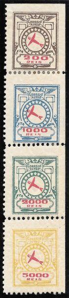 BRASIL 1929 - SELOS PARA O CORREIO AÉREO EMITIDOS PELA COMPANHIA ETA COM AUTORIZAÇÃO POSTAL E NUMERA