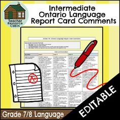 Report Card Comments, Intermediate Grades, Report Cards, Media Literacy, Ontario, Communication, Language, Teacher, Writing
