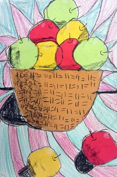"""1st--Students cut baskets and apples from construction paper and used crayons to """"shade"""". They cast shadows on the apples and the basket to create a three-dimensional look."""