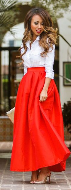Red Tulip Maxi Skirt