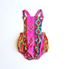 Vintage Boho Inspired Rompers Jumpers!! Aztec Flaming Pink Jumper by Paush // www.shopsweetthreads.com