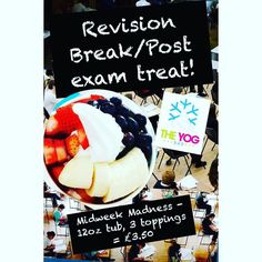 Come and grab that revision craving you know you need! Take a break today with midweek madness! Offer on all day! #froyo #frozenyoghurt #frozenyogurt #frogurt #yog #theyogbar #yogbar #food #foodie #foodpic #instagood #instafood #foodstagram #picoftheday #instapic #instadaily #foodblog #foodblogger #dessert #frozendessert #wirral #liverpool #merseyside #hoylake #westkirby by theyogbar