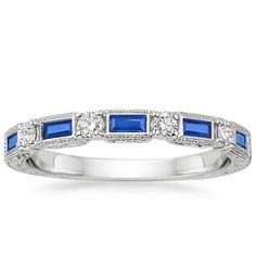 18K White Gold Vintage Sapphire and Diamond Ring, top view.    Love this!!!!!!