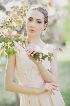 bride in cherry garden