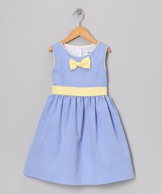 Take a look at this Blue & Yellow Gingham Bow Dress - Toddler & Girls by Gidget Loves Milo on #zulily today!