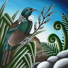 Tui & Flax Tui Bird, Maori Symbols, Maori Patterns, Polynesian Art, Maori Designs, New Zealand Art, Nz Art, Maori Art, Bird Artwork