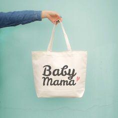 baby mama canvas tote bag - diaper bag