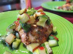 Spicy Chicken Thighs with Rhubarb-Cucumber Salsa Ingredients: 1 ...