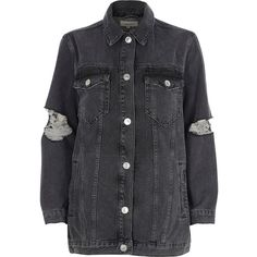 River Island Black ripped oversized denim jacket ($110) ❤ liked on Polyvore featuring outerwear, jackets, black, coats / jackets, women, distressed jacket, oversized jean jacket, jean jacket, long sleeve jacket and tall denim jacket
