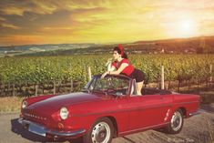 Pin up girl in red cabrio Pin Up Girls, Bmw, Vintage, Vintage Comics