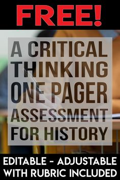Get yourself a free one pager assessment that encourages critical thinking with your students! This one page assessment isn't about just coloring or copying - students will be thinking! Social Studies Notebook, Social Studies Resources, Teaching Social Studies, Teaching Art, Teaching Resources, Teaching Ideas, World History Classroom, History Education, Teaching History