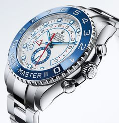 The Rolex Yacht-Master II in 904L steel with a blue Cerachrom bezel in ceramic, white dial and Oyster bracelet.