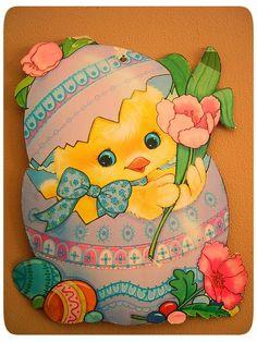 Vintage Die Cut Easter Chick decoration.
