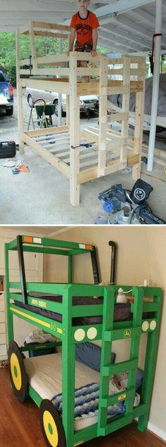 Tractor Bunk Bed Allis chalmers for my kids? Toddler Bunk Beds, Bunk Beds Boys, Bunk Beds With Stairs, Cool Bunk Beds, Tractor Toddler Bed, Tractor Bedroom, Bunk Bed Designs, Kids Wood, Storage Design