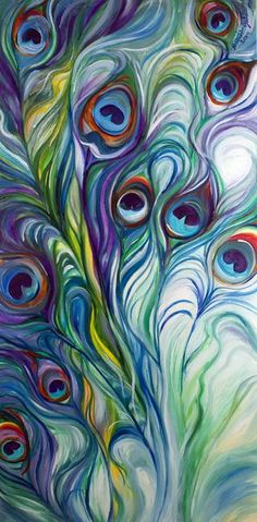 """PEACOCK ABSTRACT"" by Marcia Baldwin: An original oil painting by Marcia Baldwin. This abstraction of the peacock feathers has dynamic design and exciting color. The original has been sold, but please enjoy fine prints from this websit..."