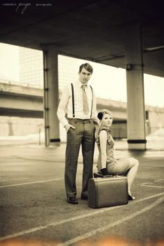 Anna Page Photography captured this adorable vintage-themed wedding engagement photo shoot in downtown Milwaukee. Vintage suitcases showcase a love of travel Pre Wedding Shoot Ideas, Wedding Photos, Wedding Stuff, Couple Photography, Photography Tips, Wedding Engagement, Engagement Photos, Vintage Wedding Theme, Photo Ideas