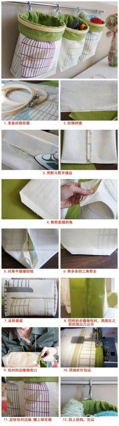 非常实用的储物袋,用绣花箍做袋口。