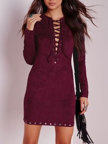 Wine Red Long Sleeve Lace Up Bodycon Dress