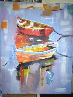 Nyári ringatózás a vízen, akrillal festett másolatom Georgi Kolarov képéről My transcript, about, the picture,Georgi Kolarov