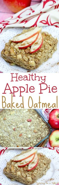 Healthy Apple Pie Baked Oatmeal recipe. The perfect clean eating apple baked oatmeal for fall morning! Easy and delicious using rolled oats, eggs, cinnamon and apple sauce! Dairy-free and gluten-free friendly. / Running in a Skirt